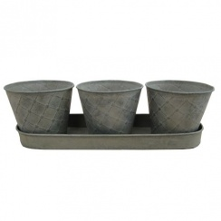 Antique Style Metal Herb Plant Pots - Set of 3