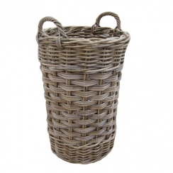Grey & Buff Rattan Round Wicker Umbrella Stand Basket