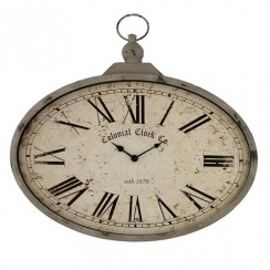 Vintage Shabby Chic Style Oval Wall Clock