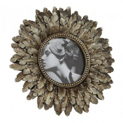 Gold Round Photo Picture Frame - Vintage Art Nouveau Style