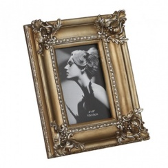 "Gold Rectangular Photo Picture Frame - Vintage Art Nouveau Style 4"" x 6"""