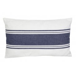 Ivory & Navy Blue Stripe Coastal Design Rectangular Cushion (30cm x 50cm)