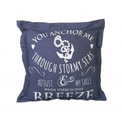Navy Blue & White Anchor Design Square Cushion (40cm x 40cm)