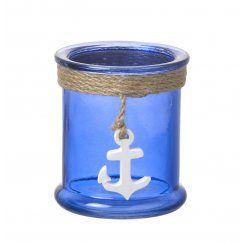 Blue Glass Tea Light Candle Holder - Coastal Anchor Design