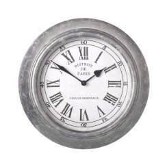 Grey Metal Wall Clock - Vintage French Styling