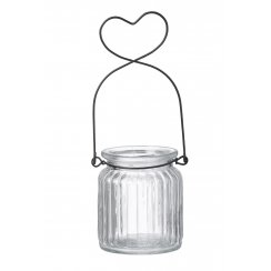 Heart Handle Glass Jar Tea Light Holder