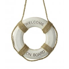 Wooden Decorative Nautical Lifesaver Ring - Welcome On Board