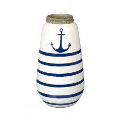 Nautical Blue & White Stripe Vase with Anchor Design