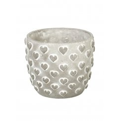 Hearts Plant Pot Planter - Concrete Grey