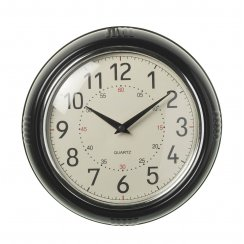 Giles Black Round Wall Clock