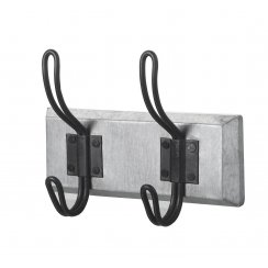 Silver & Black Metal 2 Coat Hook
