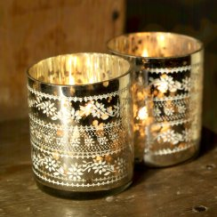 Sparkling Silver Tea Light Holder