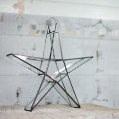Antique Zinc Standing Star Tea Light Holder