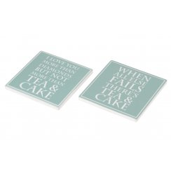 Ceramic Coaster 'Tea & Cake' - Set of 2