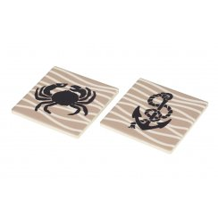 Ceramic Coaster Anchor & Crab - Set of 2