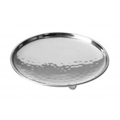 Round Silver Church Pillar Candle Plate Holder