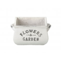 White Square Ceramic Planter with Flowers & Garden text