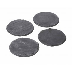 Natural Black Slate Round Coasters - Set of 4
