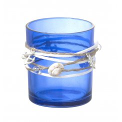 Cove Blue Glass Tea Light Candle Holder - Anchor & Shell