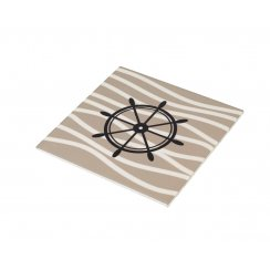 Square Beige & White Place Mat - Ships Wheel Design