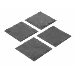 Natural Black Slate Square Coasters - Set of 4