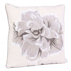 Floral Embroided Square Cushion - Taupe 43cm x 43cm