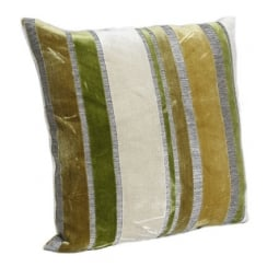 Green Velvet Cut Stripe Square Cushion 43cm x 43cm