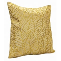 Embroided Leaves on Faux Silk Square Green Cushion 43cm x 43cm