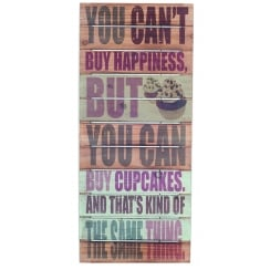 Cupcake and Happiness Wooden Wall Art Sign