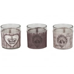 Vintage Style Glass & Fabric Tea Light Holders - Set of 3