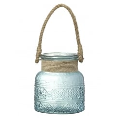 Coastal Aqua Blue Glass Candle Holder with Rope Handle