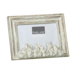 White Wash Shabby Chic Bunny Rabbit Photo Frame - Facing Front