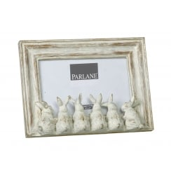 White Wash Shabby Chic Bunny Rabbit Photo Frame - Facing Away