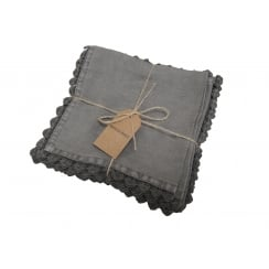 Dark Grey Linen Napkin with Heart Edging - Set of 4