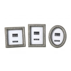 Vintage Pewter Style Small Silver Photo Frames - Set of 3
