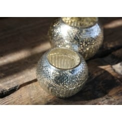 Sparkling Rustic Silver Tea Light Holder