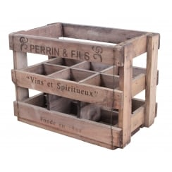 Vintage Style Wooden Wine Crate - 6 Bottle