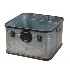 Industrial Chic Metal Square Storage Tin