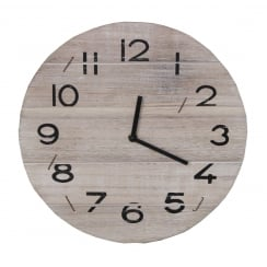 Whitewash Driftwood Round Wall Hanging Clock