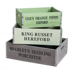 Vintage Style Grey & Green Painted Wooden Storage Crates - Set of 3