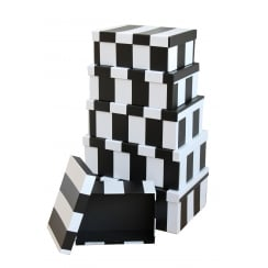 Black & White Stripe Stacking Storage Boxes - Set of 6