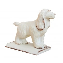 Cream Dog Door Stop Wedge - Antique Style