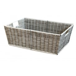 Polywicker Grey & White Rectangular Storage Basket