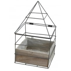 Grey Metal House Frame Planter