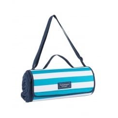 Coast Navy Fleece Picnic Blanket by Navigate with Aqua & White Stripe Carry Case