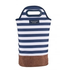 Coast Insulated Twin Bottle Cooler Carrier by Navigate - Navy Blue & White Stripe