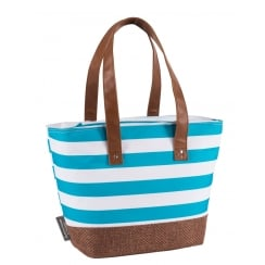 Coast Cool Bag Shoulder Bag by Navigate - Aqua Blue & White Stripe