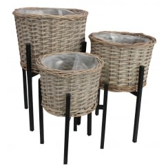 Grey Wash Wicker Round Planter and Stand