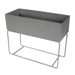 Grey Metal Rectangular Trough Planter