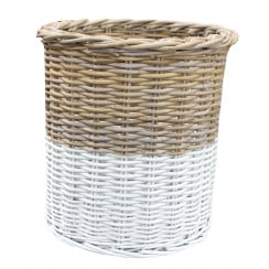 Grey & White Rattan Tall Round Wicker Storage Basket